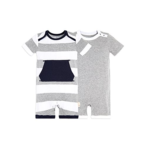 Burt's Bees Baby Baby Boys' Short Sleeve Rompers 2-Pack, 100% Organic Cotton One-Piece Coverall, Heather Grey Pocket, Newborn