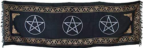 CircuitOffice Altar Tarot Cloth for Tarot Reading, Wicca, Pagan, Scrying, Magik, Wall Decoration, Table Cloth, Tapestry (72' X 21' Three Pentagram)