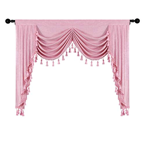 Thick Chenille Window Curtains Valance for Living Room Princess Pink Waterfall Valance for Bedroom,Rod Pocket(Pink, W59,1 Panel)