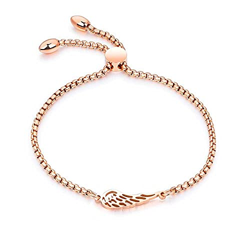 YFZCLYZAXET Armband Armreif Armkette Damen Beliebte Federmode Armbänder Roségold Farbe Länge Armband-Rosa_Color_ORO