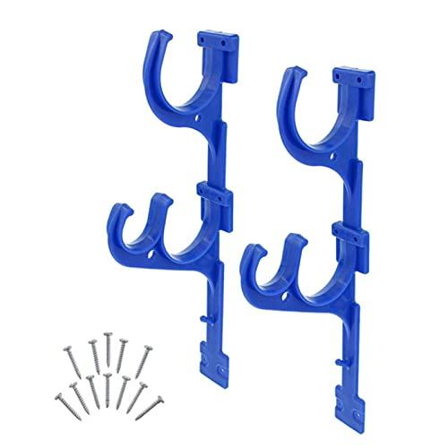 2PCS Pool Stange Aufhänger Aluminium Halter Set, Wandhalter Haken Für Teleskop Polen Abschäumer Blatt Rechen Netze Pinsel Staubsauger Schlauch Garten Werkzeuge Und Schwimmbad Zubehör - Blau, free size