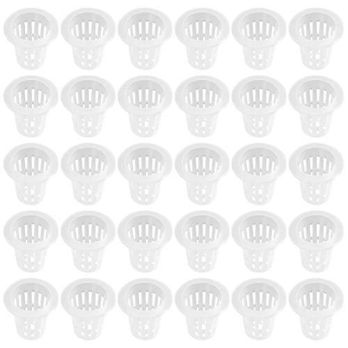 Yardwe 50 Unids Hidropónica macetas netas de jardín de plástico Hydroponics Net Pot Bucket Basket para Suministros de hidroponía 2.8 Pulgadas (Blanco)