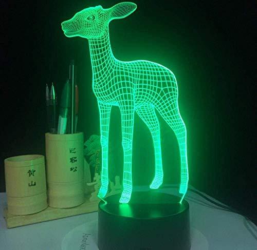 3D LED-lampenlicht USB schattige Small Deer 7 bont nachtlampje voor huwelijksdecoratie, innovatief nieuwjaarsgeschenk gepresenteerd hologramlamp