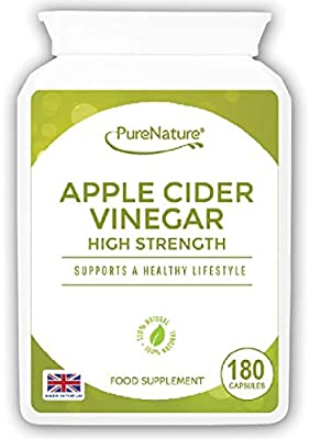 Apple Cider Vinegar 180 High Strength Capsules to Support the Maintenance of a Healthy Body Fluid Balance, Diet, Weight loss and Sugar Balance FREE UK Delivery by Distributed by Be-Beautiful-Online