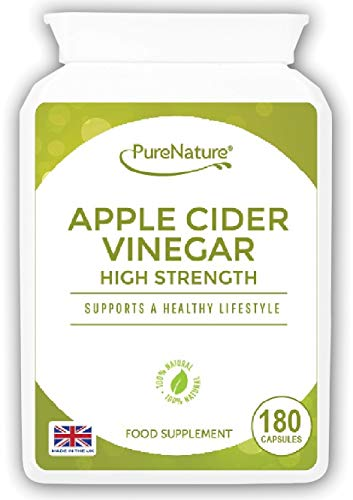 Apple Cider Vinegar |180 Capsules not Tablets or Liquid | 90 Day Supply | Made in The UK | PureNature