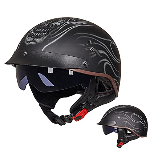 WUHX Casco de Cara Abierta Motocicleta Transpirable Motocicleta Casco Motocicleta Half Cascos con Visera Sun Vintage Harley Cascos Removibles 3/4 Helmet Jet Style Casco,13,M