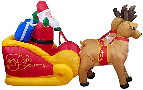 PoJu 7.2ft Christmas Inflatable Outdoor Decorations LED Lighted Santa on Reindeers Sleigh Blowup Outdoor Yard Decoration