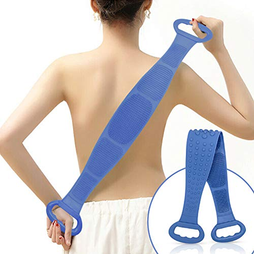 Silicone Bath Body and Skin Brush Belt, Body Back Scrubber,Easy to a Clean Eco Friendly,Long Lasting for Women & Men Comfort (Blue)