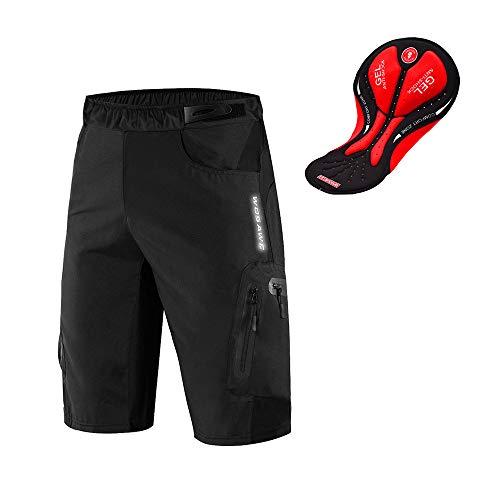 WOSAWE Pantalones Cortos de Ciclismo para Hombre Transpirable Gel 3D Acolchada Sueltos MTB Ropa Interior Pantalones (Negro L)
