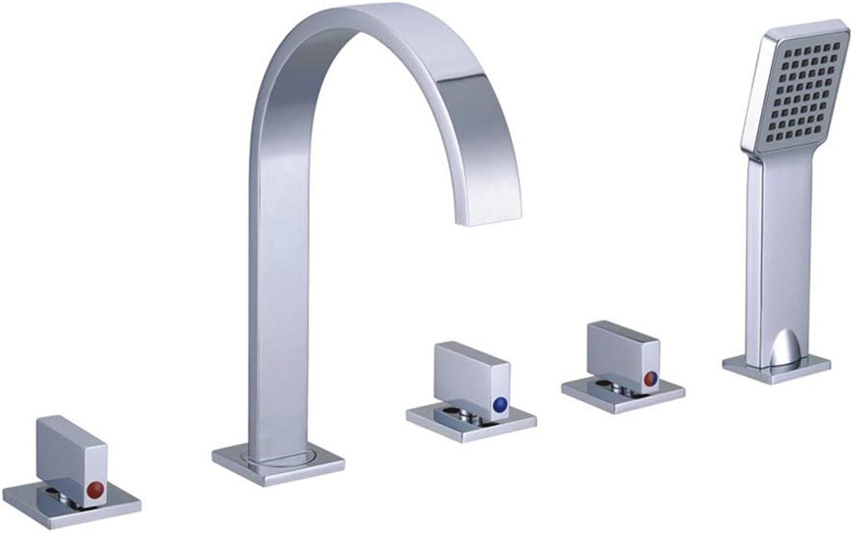 SXMXN Wasserfall-Wannenarmatur mit 4-Lchern und Handbrause in schwarz von,C