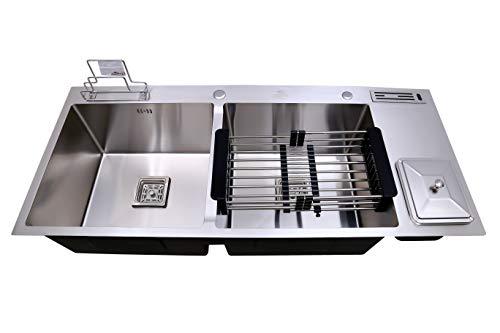 CROCODILE 304 Grade Stainless Steel Satin Finish Double Bowl Dustbin Handmade Kitchen Sink (45x20x10 Inch)