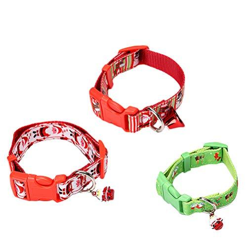 VILLCASE 3 piezas de Navidad impreso collar de mascota de poliéster anillo de cuello de mascotas suministros prácticos para perro cachorro tamaño S (rojo) - Suministros de disfraz para perro
