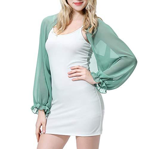 Scrolor Pareos Strandkleider Damen Sonnenschutzhemd strandtücher Atmungsaktive Polyester-Oberteile gekräuselte Ärmel Multi Color für Wählen(Grün,Free)
