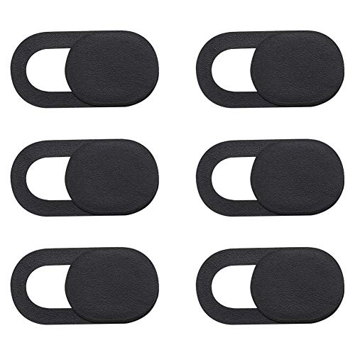 SUI-lim Webcam Cover, Pack of 6 Small Webcam Cover, Ultra Thin Tape Camera Cover for MacBook Pro, Laptop, iPad Pro, PC, Webcam Protection (Black)