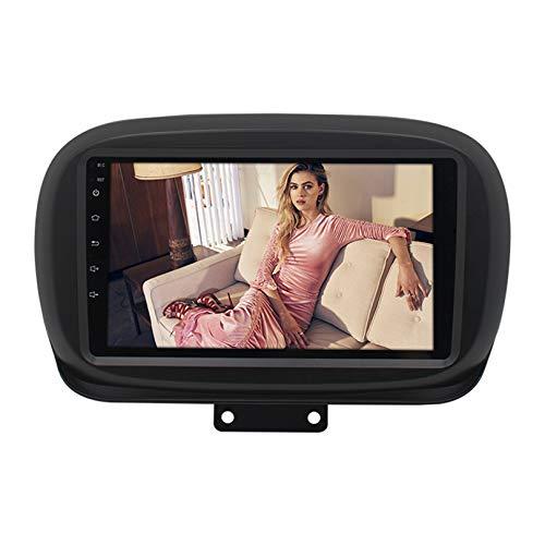 ADMLZQQ Adecuado para Radio de Coche Fiat 500X, Reproductor Multimedia con Pantalla táctil de 9 Pulgadas, Equipado con Host de navegación GPS, Compatible con Bluetooth/Enlace Espejo/RDS,WiFi 1+32