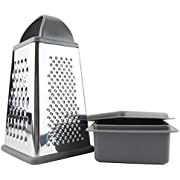 Tovolo 61-27299 Box Grater, Stainless Steel with 4 Sides Best for Parmesan Cheese, Vegetables, Ginger, Nuts with Detachable Storage Container One Charcoal