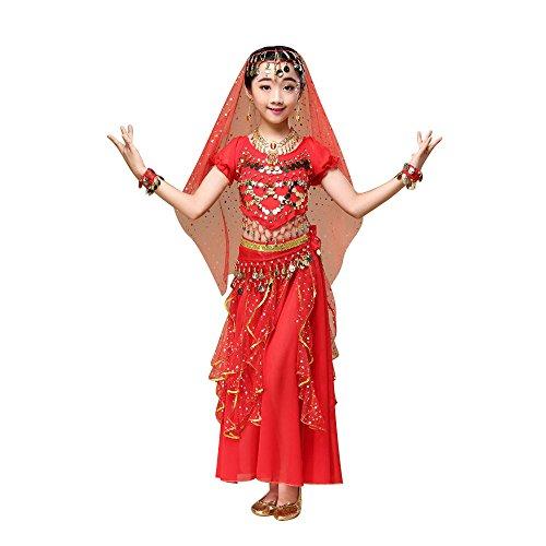 PinkLu Traje De Danza del Vientre para NiñOs Traje De Traje De Danza del Vientre para NiñAs De Los NiñOs Ropa De Baile De La India Top + Falda (x-Small, Rojo)