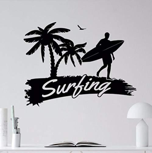 Olivialulu Vinyl Surf Wandtattoo Surfen Wandaufkleber Gym Dekoration Palme Surfen Flagge Vinyl Wandaufkleber Wassersport Ay0201 76 * 57 Cm Anpassbare