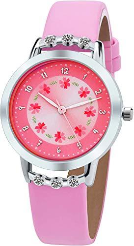 Kinderuhr Mädchen Armbanduhr,Blume NiedlichAnalog Quarz Mädchen Uhren (Stil 1,Rosa)