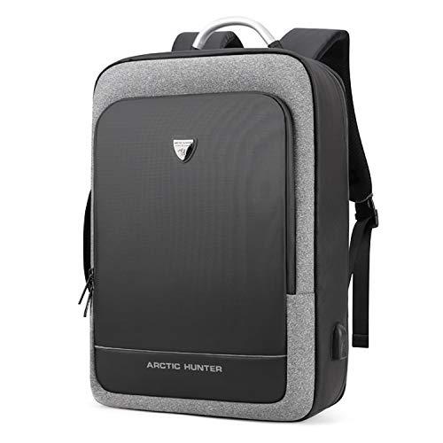FANDARE Mochila Hombres Business Outdoor Viaje Rucksack Laptop Bolso de Mano Estudiante Bolso de Escuela USB Commuter Gran Capacidad Daypack Impermeable Poliéster Gris A