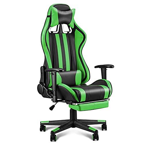 Soontrans Gaming Stuhl Racing Bürostuhl mit Wippfunktion Ergonomischer Chefsessel Gepolstert Drehstuhl mit Fußstützen Lenden- und Kopfkissen, Höhenverstellbare Armlehne (Grün)