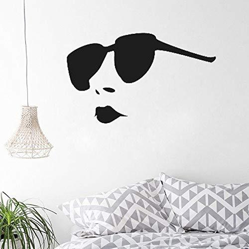 jiushivr Coole Frau mit Sonnenbrille wandaufkleber Kopf wandtattoos für mädchen Schlafzimmer Dekoration 91x57cm