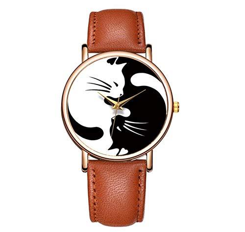 Relojes de Pulsera Reloj De Cuarzo Neutral A Prueba De Agua Reloj Clásico De Gato Blanco Y Negro Reloj Romántico para Hombre Reloj Electrónico (A)