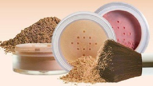 4pc (WARM Neutral Shade-Most Popular) KIT w/KABUKI BRUSH Mineral Makeup Matte Loose Powder Foundation Concealer Blush Long Lasting Bare Face Cosmetics