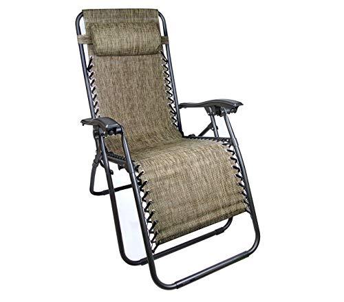 Mediawavestore 485347 Silla Plegable Beige EVERTOP reclinable GRAVITà Zero