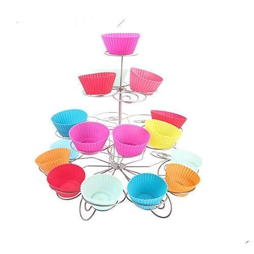 Trimming Shop 3 Niveles Espiral Metal Soporte Cupcakes - 13 Mini Pastel Expositor - para Fiestas Y Ocasiones - 4 Niveles, 4 Tier