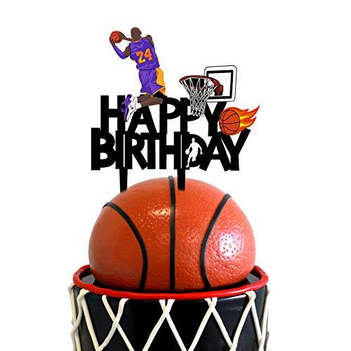 Acrylic Basketball Happy Birthday Cake Topper, Basketball Themed Birthday Party Cake Decoration, Basketball Party Favor for Basketball Fans