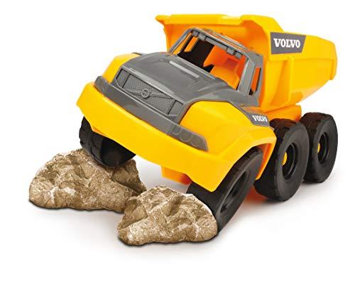 Dickie Toys QDKT062063 Volvo Muldenkipper, Spielzeug Kipplaster mit Freilauf, bewegliche Gelenkachse hinter Führerhaus, bewegliche Ladefläche, offene Kabine, 26 cm, gelb/grau