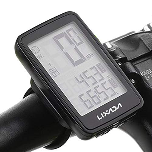 Lixada サイクルコンピューター ワイヤレス 自転車コンピュータ 大型デジタル 自転車コンピュータ 走行距離計 スピード メータ 自転車 温度計 防水 速度 距離 時間測定 付きLCD バックライト (ブラック(USB充電式))