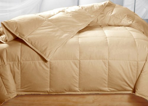 Golden Beige Colored Feather Down Comforter - King Size