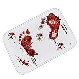 Sayla Halloween Terror Badematte Blut Fußabdrücke Non-Slip Bodenmatte, Blut Badteppich Blutbad...