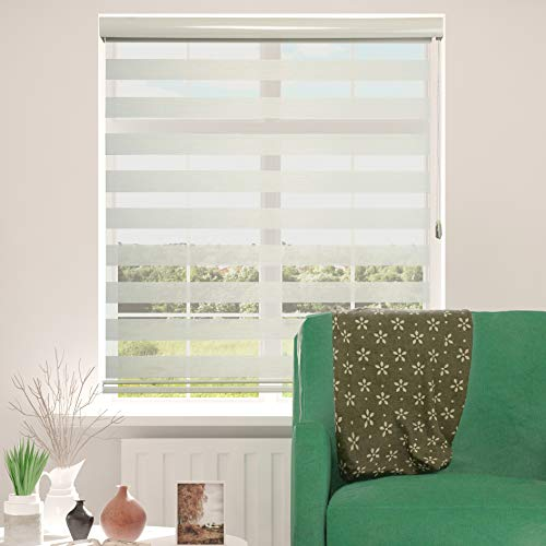 ShadesU Zebra Dual Layer Roller Sheer Shades Blinds Light Filtering Window Treatments Privacy Light Control for Day and Night (Maxium Height 72inch) (Cream Color) (Width 48inch)