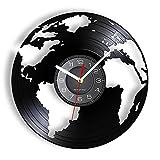 Globe Earth World Vinyl LP Record Reloj de Pared Living Green Homeland Terre Map Geografía Arte Decoración para el hogar Disco Manualidades Reloj silencioso sin LED