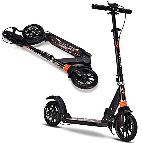 DREAMADE Scooter klappbar, City Roller Tretroller Höhenverstellbar, Cityroller Mit 2 Räder, Scooter Für Erwachsene Und Kinder, Scooter mit Bremse & Federung (Schwarz)