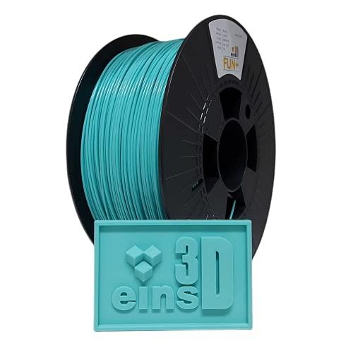 PLA FUN+ eins3D, Filament für den 3D Druck, 1.75mm Durchmesser, 1 kg Rolle, EU Ware (pastell türkis)