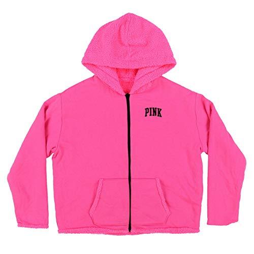 Victoria's Secret Pink Hoodie Reversible Sherpa Full Zip Sweatshirt (XL, Pink)