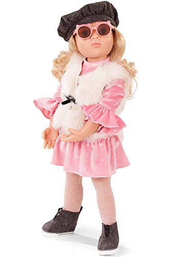 Götz 1866252 Happy Kidz Lina Puppe - 50 cm große Multigelenk-Stehpuppe mit blonden Haaren und blauen Augen - 8-teiliges Set