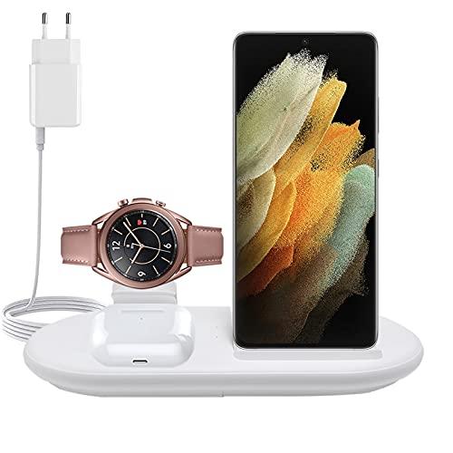 Cargador Inalámbrico 3 en 1, Estación Base de Carga Rápida De 10 W para Samsung S21 Ultra Samsung Galaxy s20 / s10 Galaxy Watch1 / 3 / Active1 / 2, iPhone 12Base De Carga Rápida