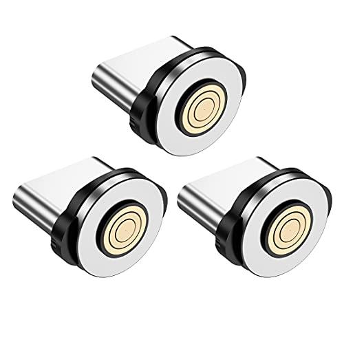 IVS 3 Puntas Adaptadores Conectores Tipo C -SOLO PUNTAS- Tips Iman Cabezal Clavija Magnetica para Cable de Carga Magnetico   Tapon Antipolvo para Movil