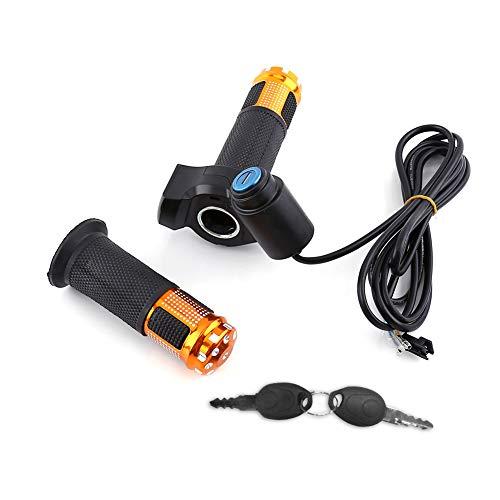 Alomejor Puño de acelerador para bicicleta eléctrica, indicador de voltaje de la batería, manillar de patinete eléctrico con pantalla LED y acelerador Power Key Locker (dorado)