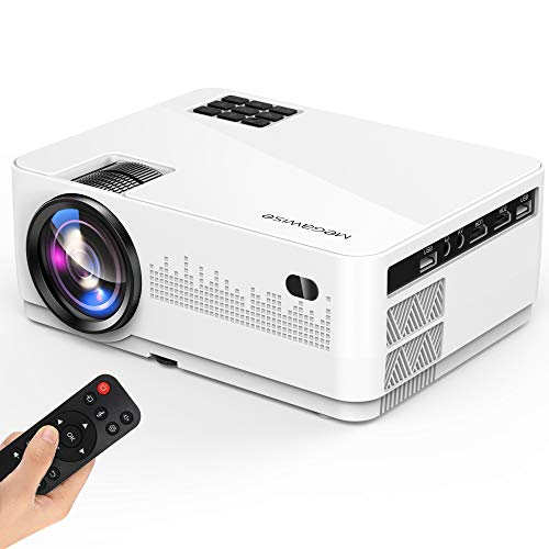 MegaWise 1080P Video Projector, 6000 Lux and 200'' Display with Bult-in 5W Speakers Movie Projector, 2xHDMI/2xUSB Ports, Compatible with TV Stick, Video Games, Smart Phone, HDMI, USB, VGA, AUX, AV