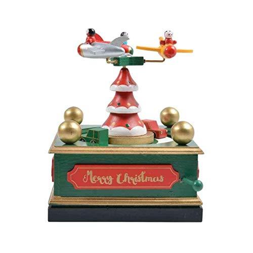IADZ Caja de música, caja de música de Navidad, música geométrica, decoración de habitación de bebé, regalo unisex de madera de Navidad