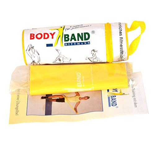 DITTMANN Body Band 2,5m im Beutel gelb (leicht) DITTMANN Body Band Fitnessband Gymanstik Expander Kraft