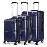 <span class='highlight'><span class='highlight'>Kono</span></span> Hardshell Suitcase 4 Wheeled Spinner Luggage Sets of 3 pcs (Set,Navy)