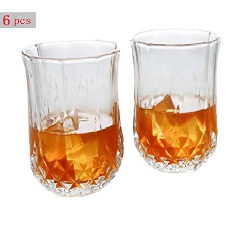 YYCDD Bierbeker, Whiskey glas Diamantglas bekerpak, Melk ontbijtbeker, Klassieke vintage wijnset, Hittebestendig/6-delige set,