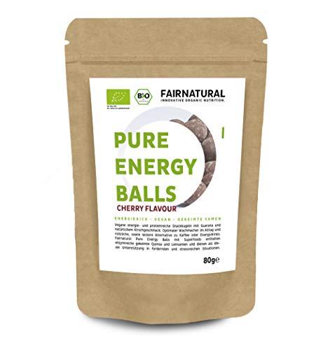 Fairnatural Bio Superfood Energy Balls I 1 Kugel 1 Kaffee I Bio Snack aus Guarana, Superfoods & Vegan Protein I Alternative zu Energy-Drinks & Cafe I Immun-Booster mit Kirschgeschmack (80g)